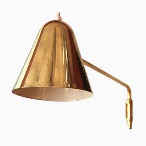 Verstellbare Mid-Century Wandlampe oder Wandleuchte aus Messing von Jacques Biny für Luminalité, 1950er