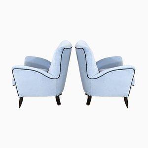 Mid-Century Italian Azure Velvet Armchairs in the Style of Gio Ponti, Set of 2