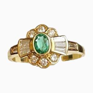 Smaragd, Diamant & Gelbgold Ring