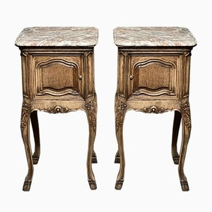 French Marble Top Bedside Cupboards, Set of 2