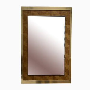 Italian Bamboo and Brass Mirror from Dal Vera, 1970s