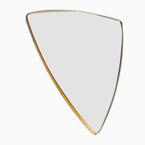Schildförmiger Messing Spiegel, 60er