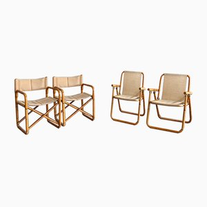 Bamboo Cane Chairs with Hinges, Brass Fittings & Sessions in Hemp, Set of 4
