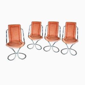Alcantara Stühle mit verchromtem Stahlrohrgestell von Tecnosalotto, 1970er, 4er Set
