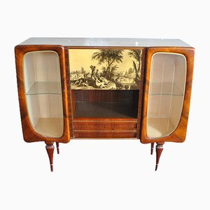 Italian Cabinet Bar with Finely Worked Doors & Printed Drawing, 1950s