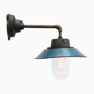 Blaue industrielle Vintage Scone Wandlampe aus Emaille & Klarglas