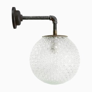 Vintage Industrial Clear Glass, Brass & Cast Iron Scone or Wall Light