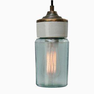 Vintage Industrial White Porcelain, Green Striped Glass & Brass Pendant Light
