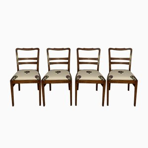 Art Deco Chairs with Artichoke Upholstery, Set of 4