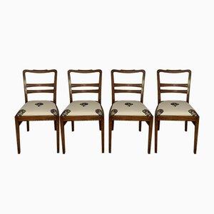 Art Deco Stühle mit Artischocken Bezug, 4er Set
