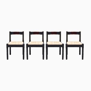 Vintage Cane Carimate Dining Chairs by Vico Magistretti for Cassina, Set of 4