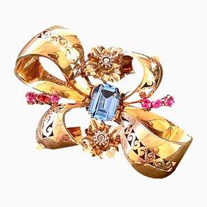 Gold und Silber Brosche mit Paste und Diamanten