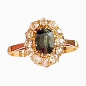 Art Nouveau Sapphire, Diamond & Gold Ring