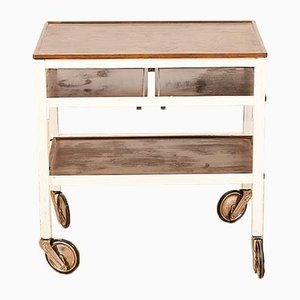 Bar Cart with White Painted Solid Wood Frame