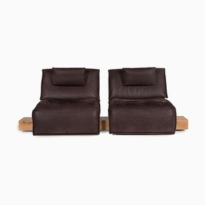 Brown Leather Free Motion 2-Seater Sofa with Relaxation Function from Koinor