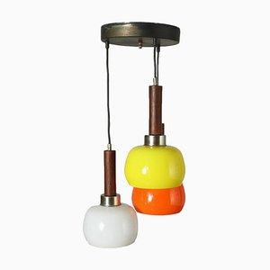 Lampada in alluminio e teak, Italia, anni '60