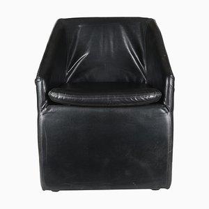 Black Leatherette Armchair, 1980s