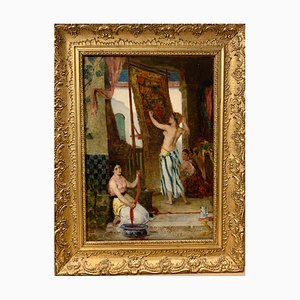 Fabio Fabbi, Carpet Weavers, Harem, Oil on Canvas, 1890