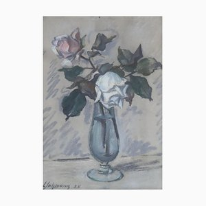 Louis Henri Salzmann, Deux roses en vase, 1938