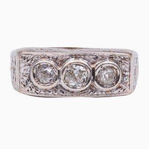 Antique Platinum Ring with Cut Diamonds, 1940s