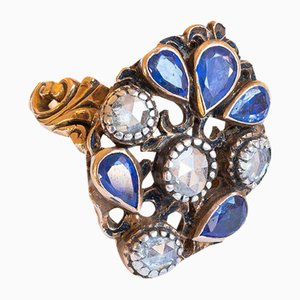 Antique 18K Gold Ring with Rosette Cut Diamonds and Sapphires, 1930s