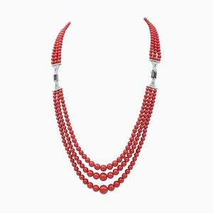 Koralle, Smaragd, Diamant & Onyx Platin Multi-Strand Halskette