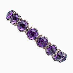 Amethyst 9 Karat Rose Gold and Silver Bracelet