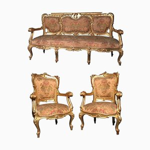 19th-Century Italian Gilt Living Room Set with Sofa and Armchairs, Set of 3