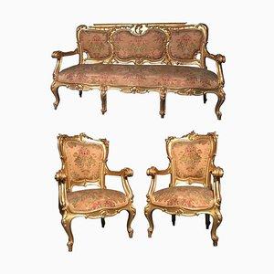 Vergoldete italienische Wohnzimmergarnitur mit Sofa und Armlehnstühlen, 3er Set, 19. Jh