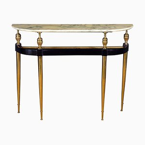 Mid-Century Oval Shaped Gilt Bronze Console Table by Paolo Buffa, Italy, 1950s