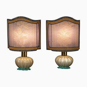Murano Glas Tischlampen von Barovier, 1940, 2er Set