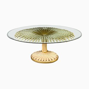 Italienischer Esstisch oder Tisch aus vergoldetem Holz & bemaltem Palmenholz, 1970er