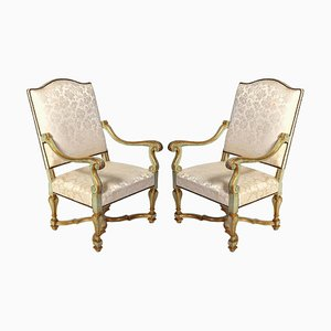 Early 18th-Century Italian Painted Armchairs, Set of 2