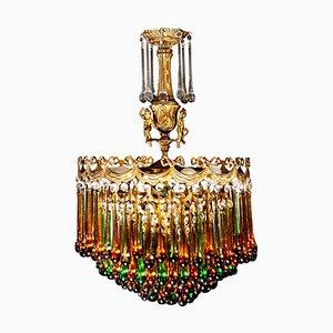 Italian Brass and Multicolored Teardrop Chandelier, 1930s
