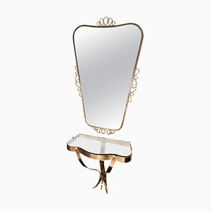 Brass Mirror with Small Console Table, 1950s
