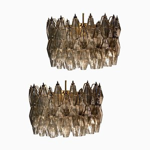 Grauer Poliedri Murano Glas Kronleuchter im Stil von Carlo Scarpa