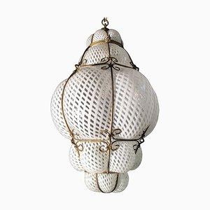 Venetian Lantern in Murano Reticello Glass, 1940s