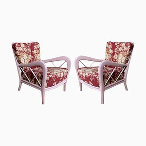 Mid-Century Italian Pink Armchairs in the Style of Paolo Buffa, 1950s