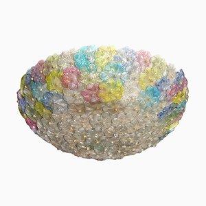 Large Multi-Color Murano Flower Glass Ceiling Light, 1950s