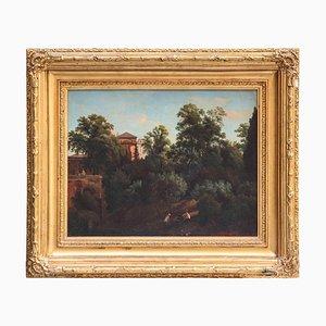 19. Jahrhundert römische Landschaft Öl auf Leinwand mit vergoldetem Holzrahmen, 1830
