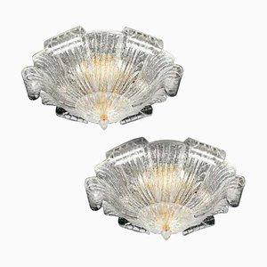 Italian Murano Glass Leave Flush Mount or Ceiling Light