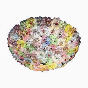 Mehrfarbige Murano Glas Blumen Korb Deckenlampe