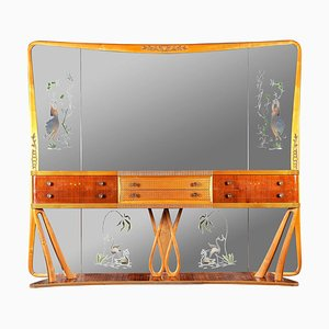 Italian Art Deco Sideboard Console Table with Mirror in the Style of Borsani, 1940