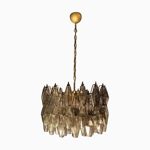 Grauer Polyedri Murano Glas Kronleuchter