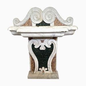 Fuente italiana de mármol con incrustaciones, siglo XVII