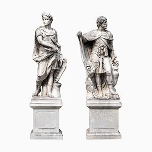 Monumental White Marble Statue of Classical Roman Figure
