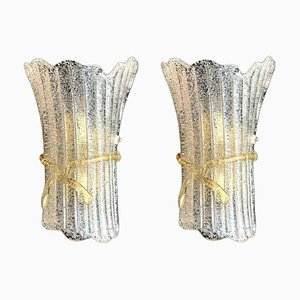 Italian Murano Glass Wall Sconces from Barovier & Toso, 1970, Set of 2