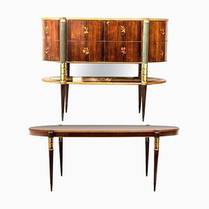 Mid-Century Italian Dining Room Set with Table and Bar Cabinet, 1940