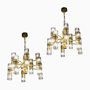 Crystal Rod and Brass Chandelier or Lantern by Gaetano Sciolari, 1960s