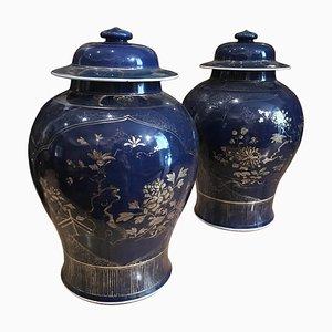 Chinesische pulverblau verzierte chinesische Gefäße, 18. Jh., 2er Set